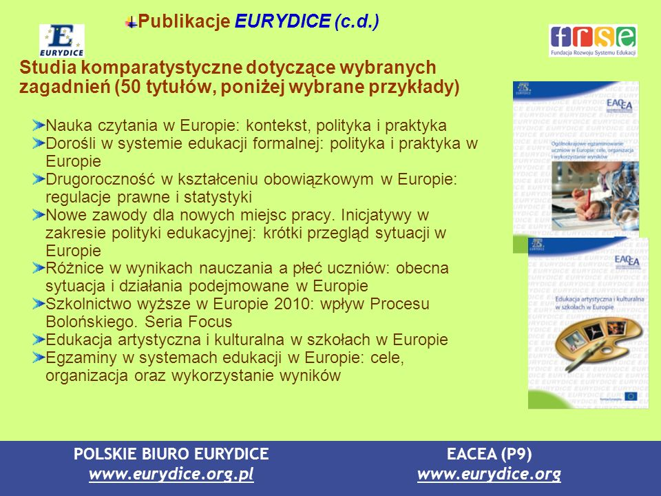 Publikacje EURYDICE (c.d.)