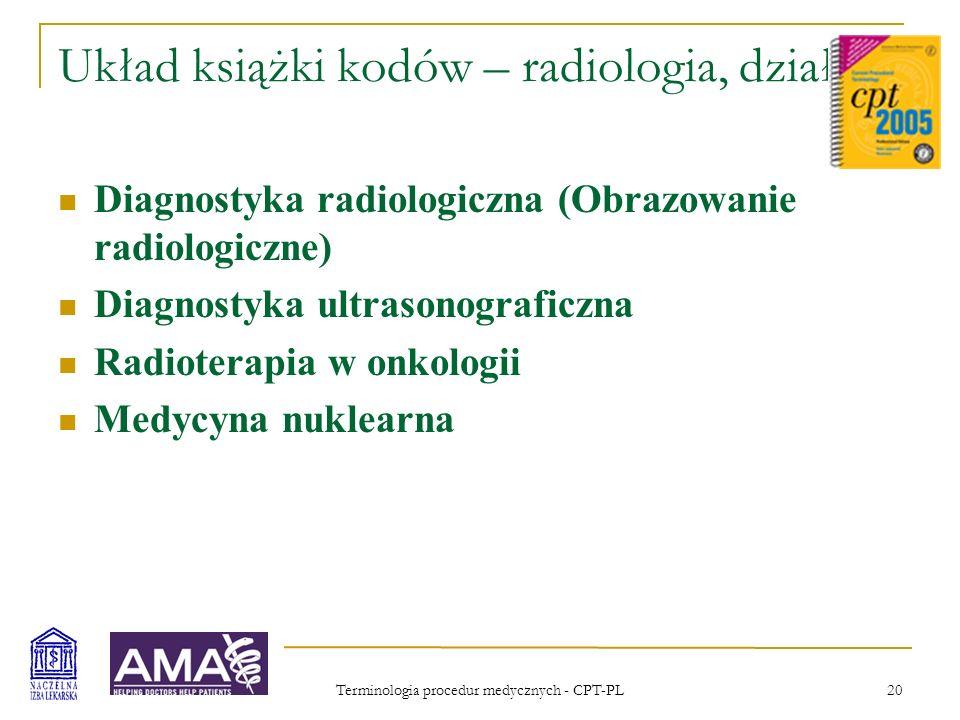 Układ książki kodów – radiologia, działy