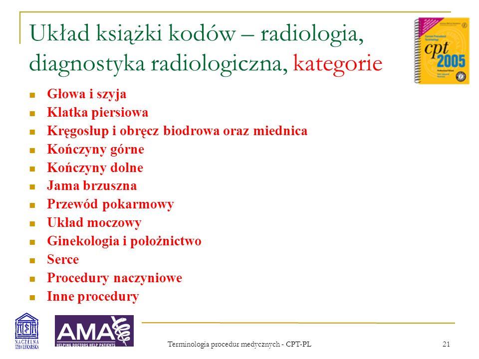 Układ książki kodów – radiologia, diagnostyka radiologiczna, kategorie