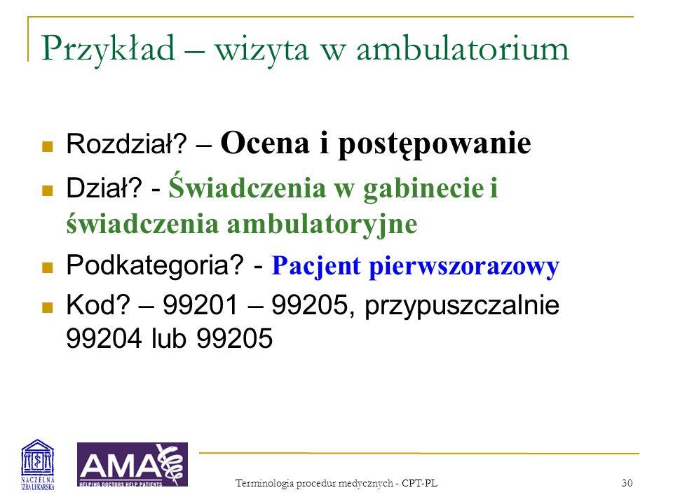 Przykład – wizyta w ambulatorium