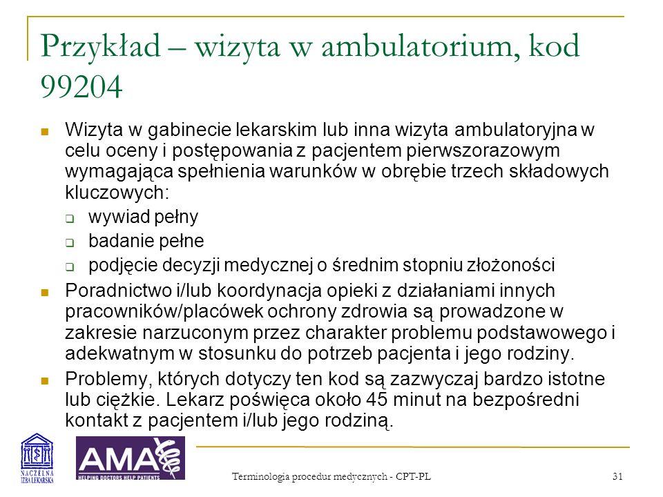 Przykład – wizyta w ambulatorium, kod 99204