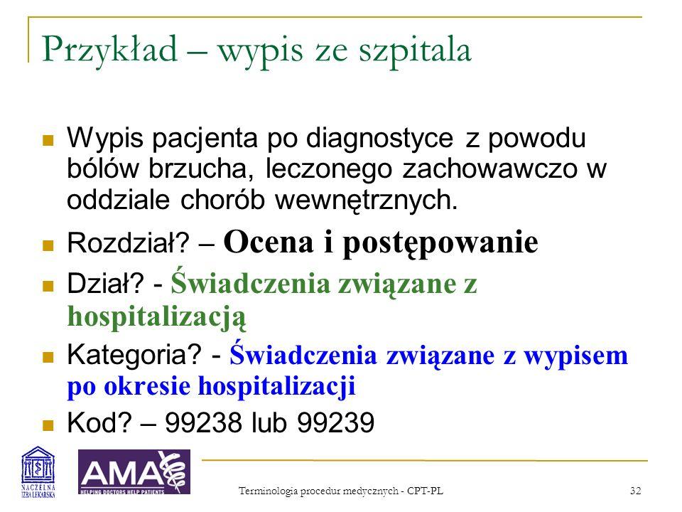 Przykład – wypis ze szpitala