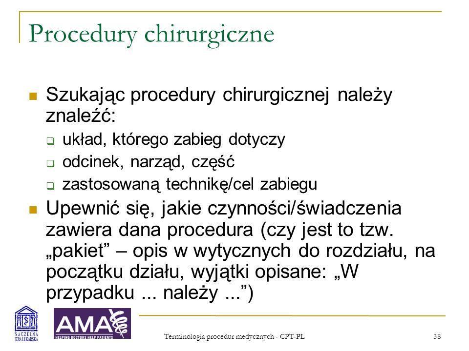 Procedury chirurgiczne