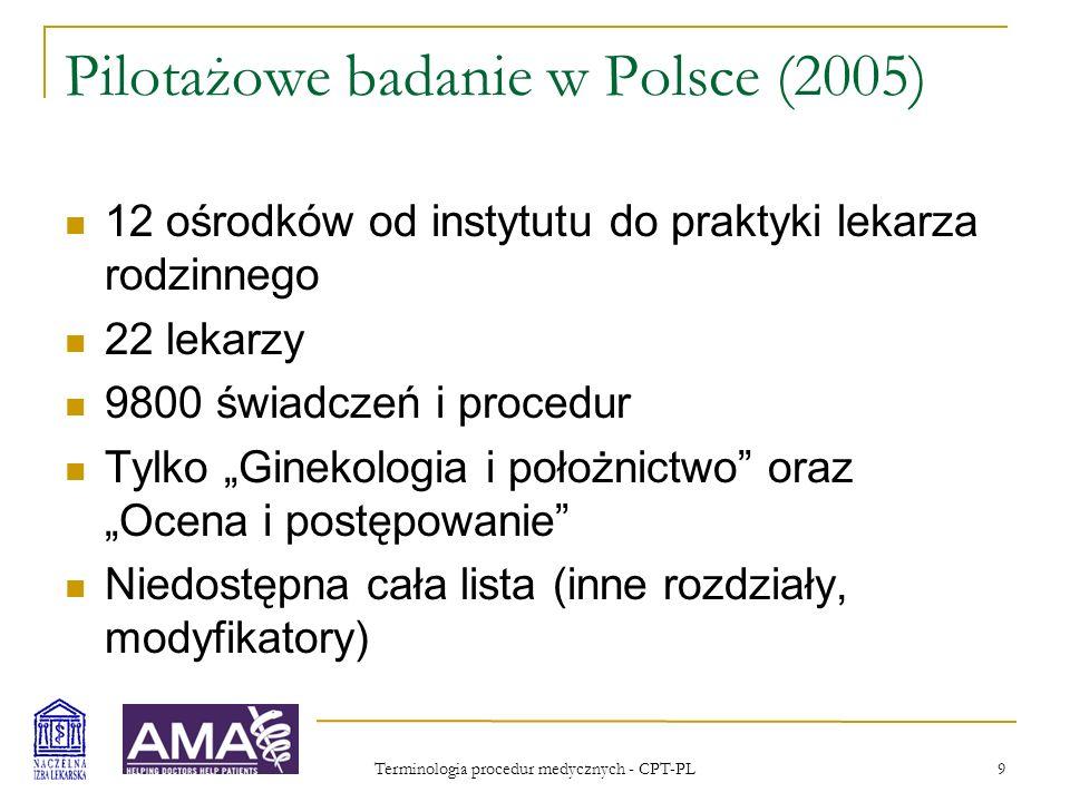 Pilotażowe badanie w Polsce (2005)