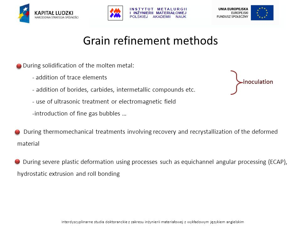 Grain refinement methods