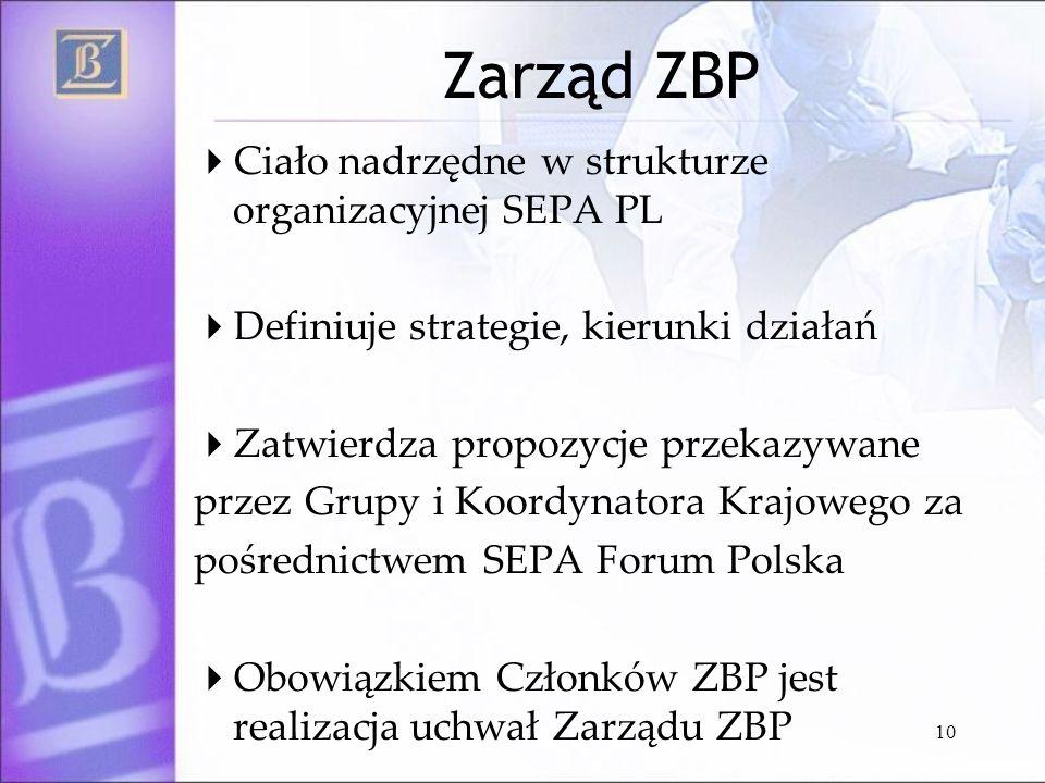 Zarząd ZBP Ciało nadrzędne w strukturze organizacyjnej SEPA PL