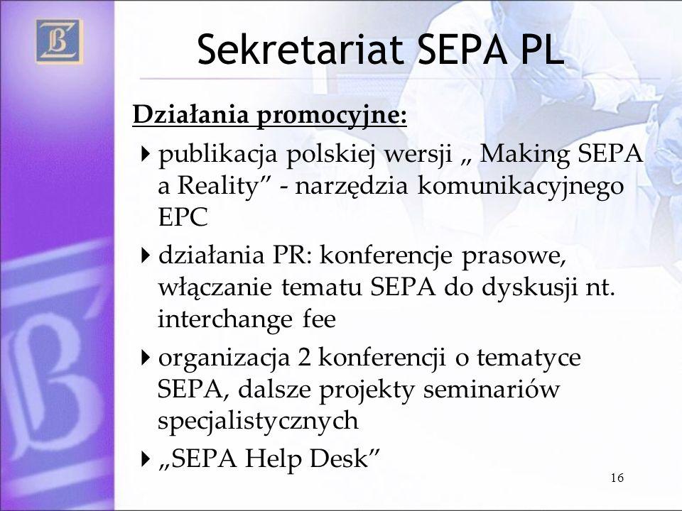Sekretariat SEPA PL Działania promocyjne: