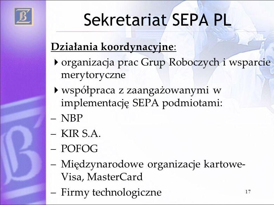 Sekretariat SEPA PL Działania koordynacyjne: