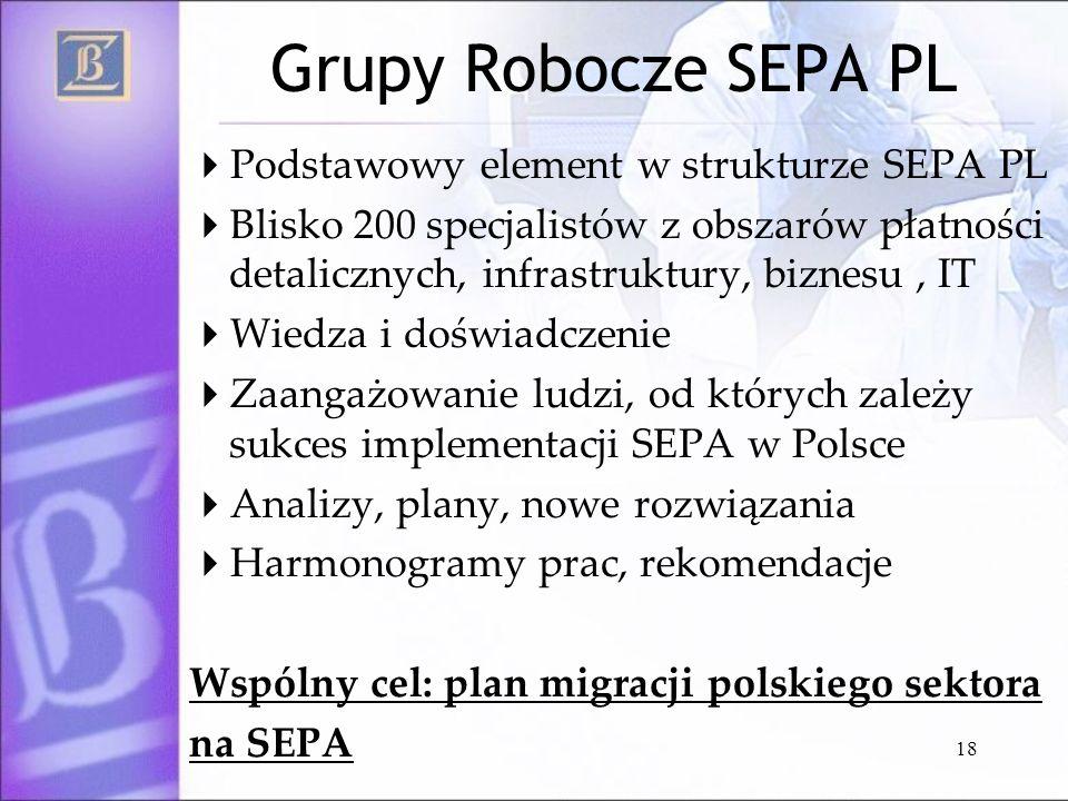Grupy Robocze SEPA PL Podstawowy element w strukturze SEPA PL