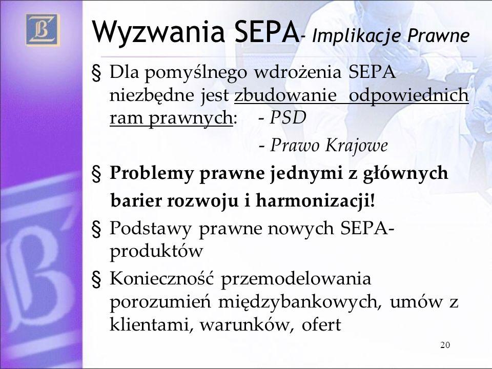 Wyzwania SEPA- Implikacje Prawne
