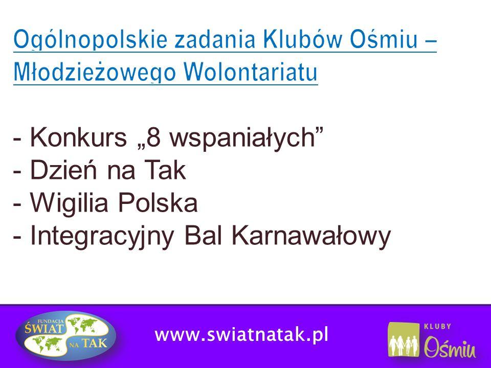 Ogólnopolskie zadania Klubów Ośmiu – Młodzieżowego Wolontariatu