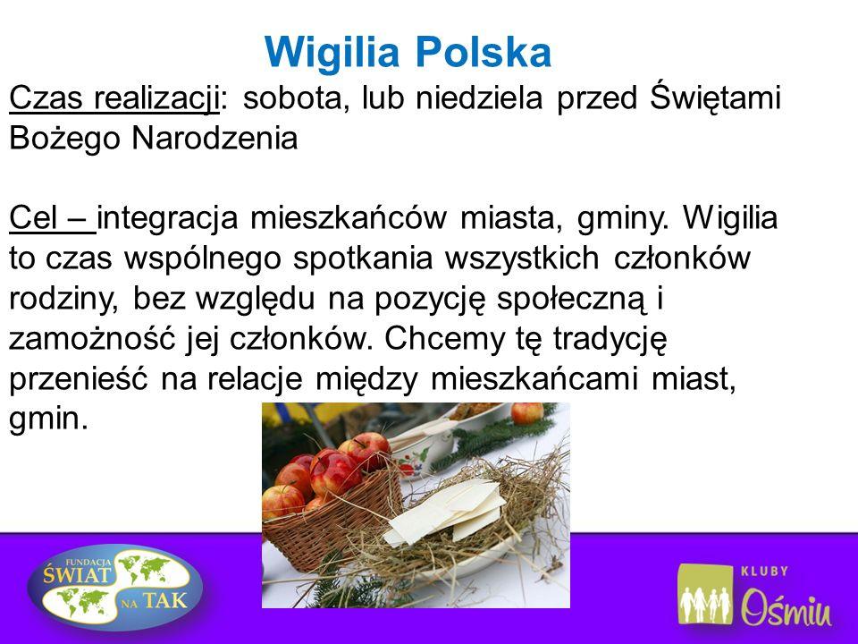 Wigilia Polska Czas realizacji: sobota, lub niedziela przed Świętami Bożego Narodzenia.