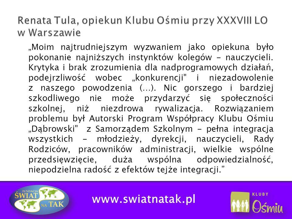 Renata Tula, opiekun Klubu Ośmiu przy XXXVIII LO w Warszawie