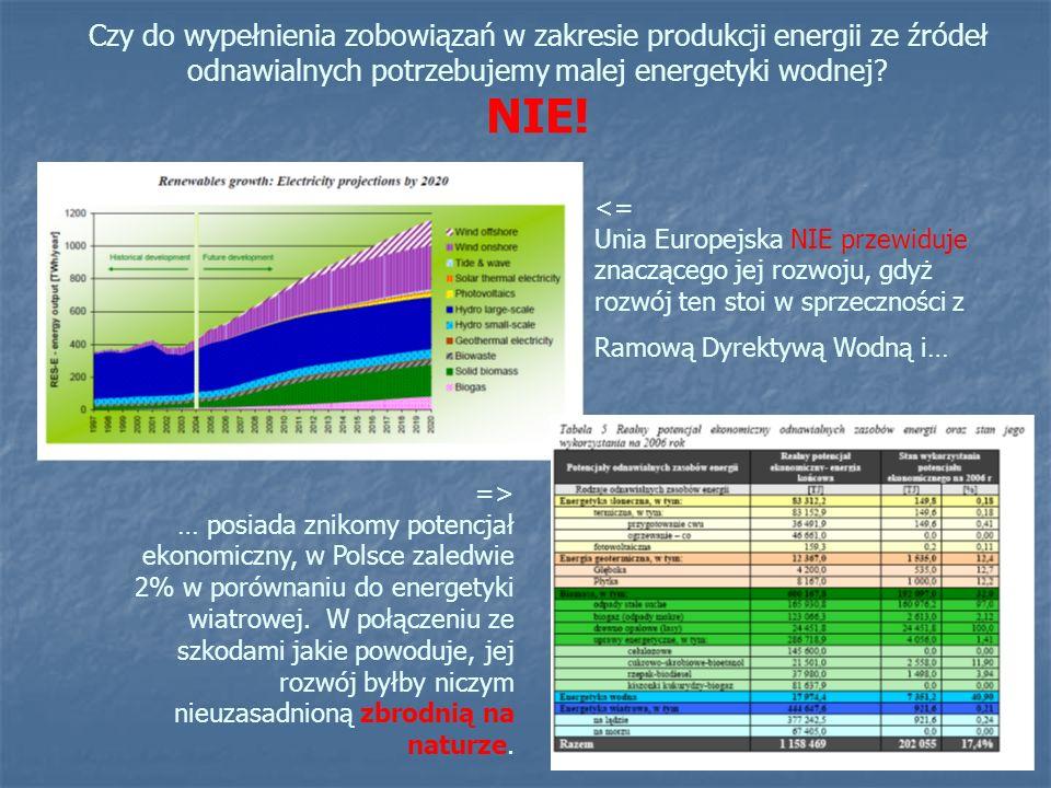 Czy do wypełnienia zobowiązań w zakresie produkcji energii ze źródeł odnawialnych potrzebujemy malej energetyki wodnej NIE!