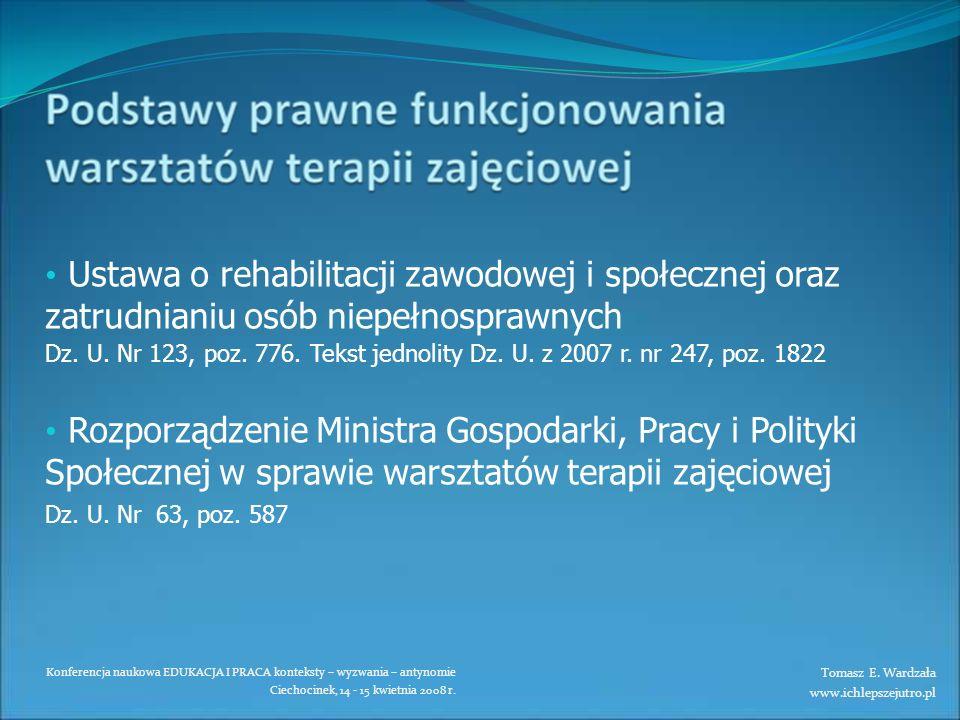 Ustawa o rehabilitacji zawodowej i społecznej oraz zatrudnianiu osób niepełnosprawnych Dz. U. Nr 123, poz. 776. Tekst jednolity Dz. U. z 2007 r. nr 247, poz. 1822