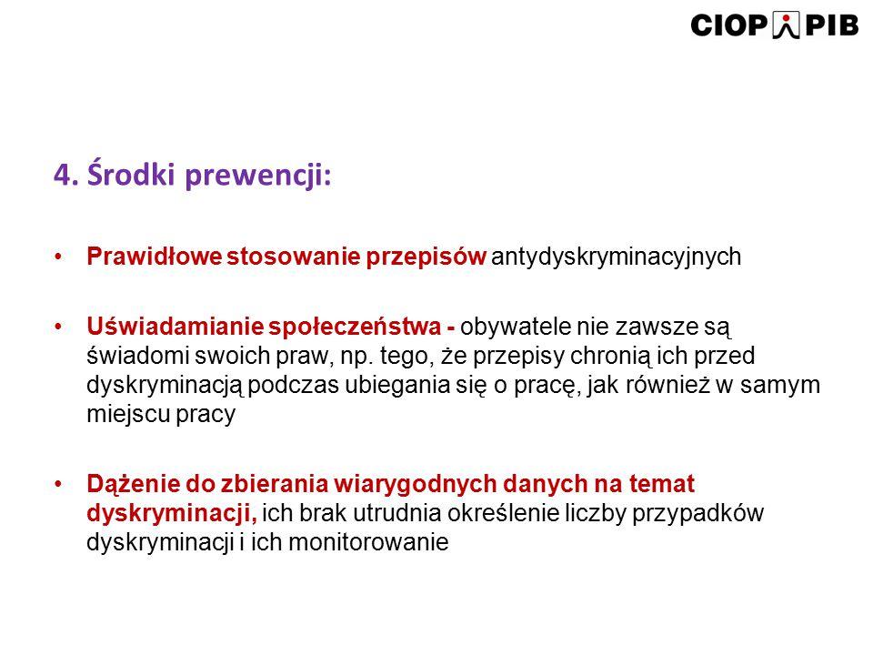 4. Środki prewencji: Prawidłowe stosowanie przepisów antydyskryminacyjnych.