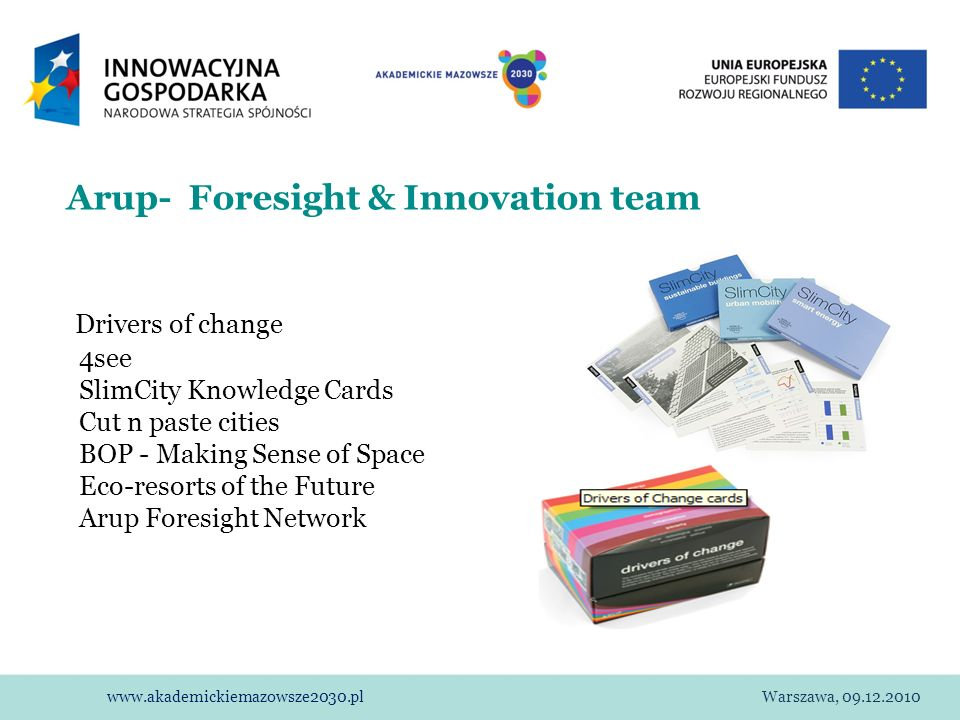 Arup- Foresight & Innovation team Drivers of change 4see SlimCity Knowledge Cards Cut n paste cities BOP - Making Sense of Space Eco-resorts of the Future Arup Foresight Network