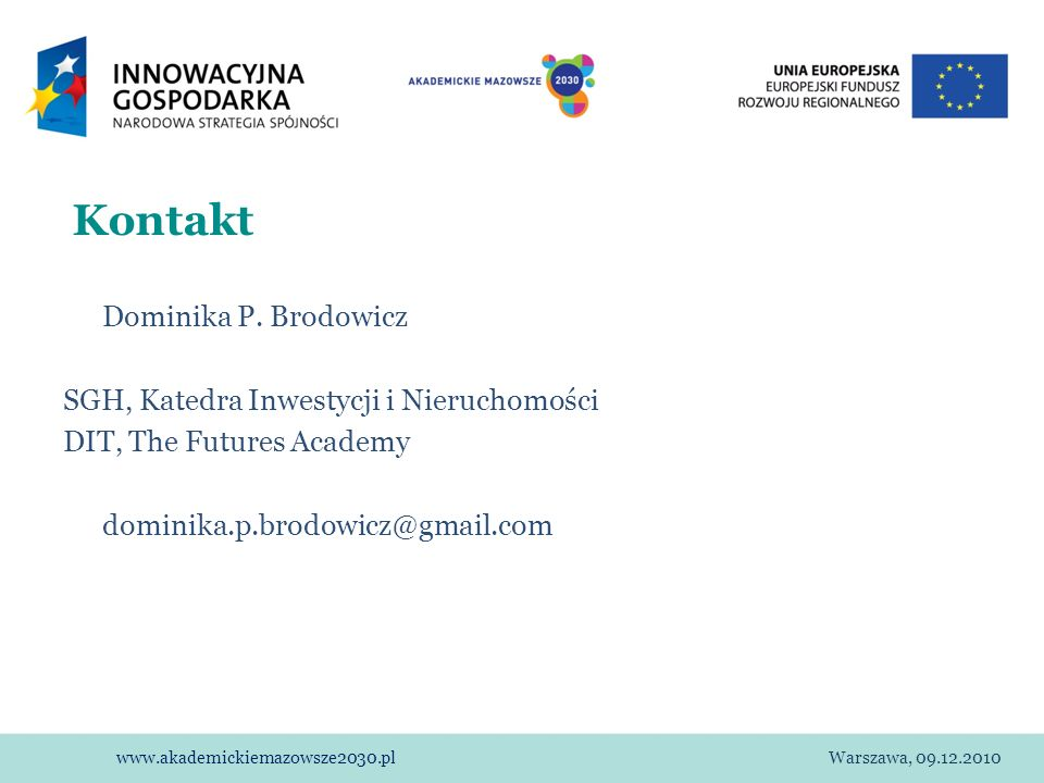 Kontakt Dominika P. Brodowicz SGH, Katedra Inwestycji i Nieruchomości