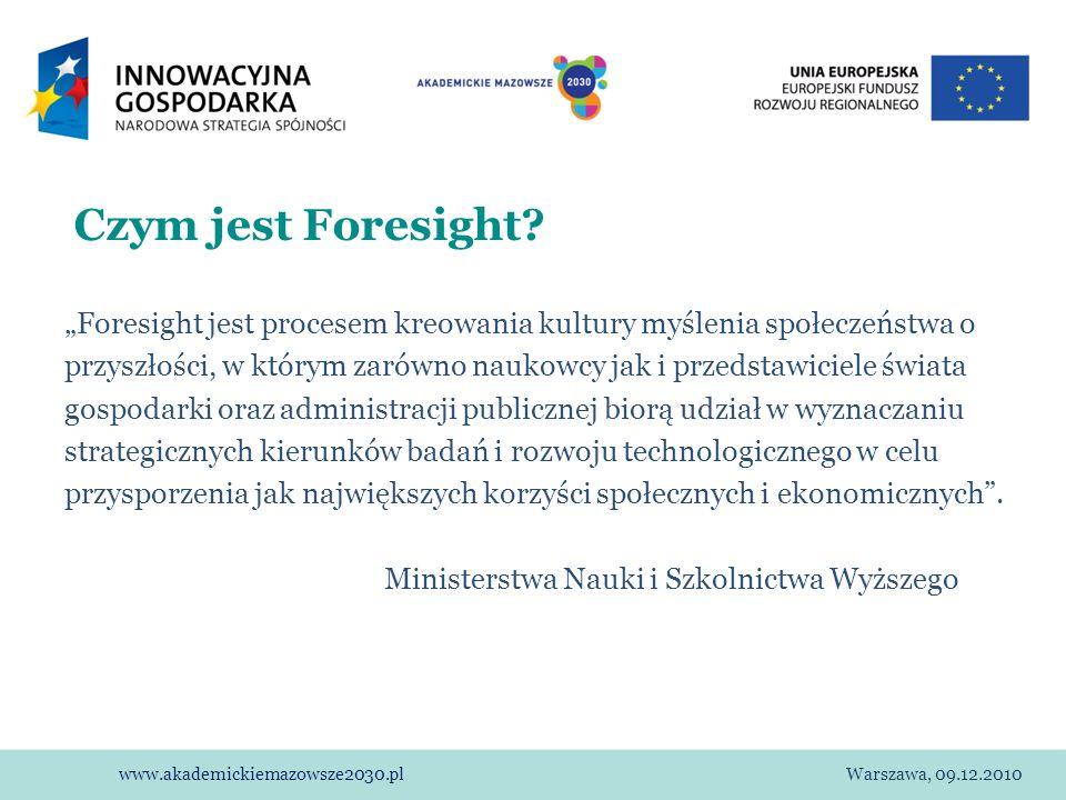 """Czym jest Foresight """"Foresight jest procesem kreowania kultury myślenia społeczeństwa o."""