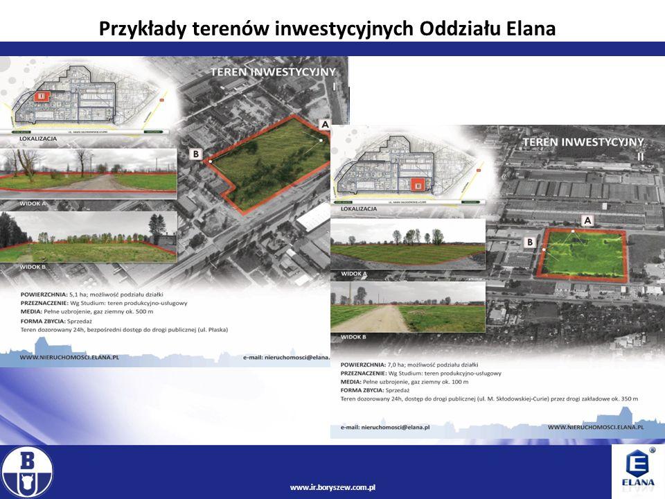 Przykłady terenów inwestycyjnych Oddziału Elana