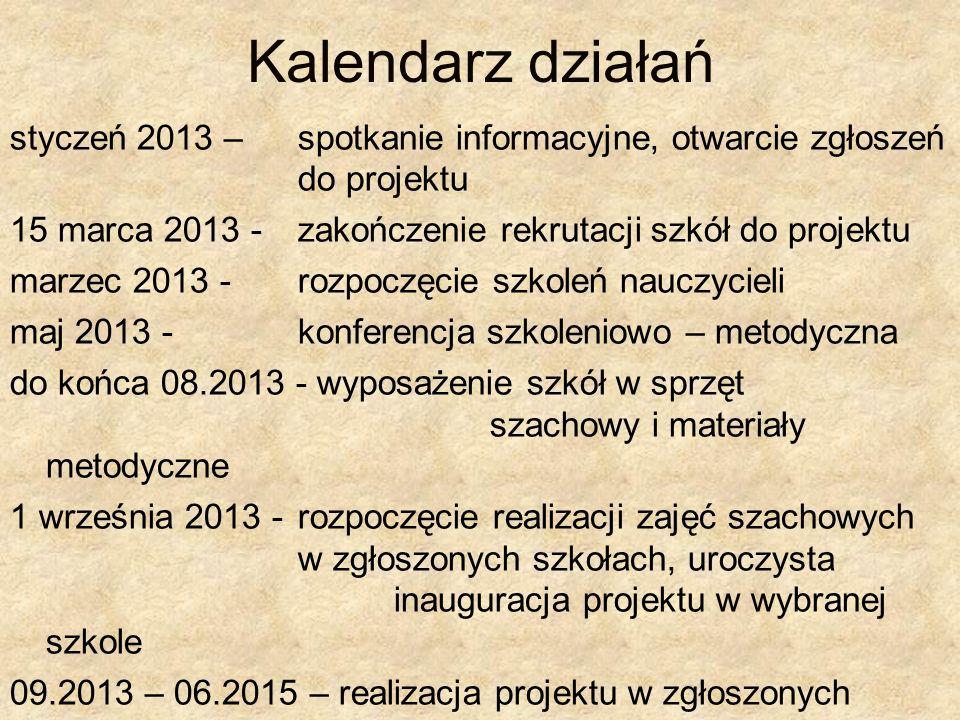 Kalendarz działań styczeń 2013 – spotkanie informacyjne, otwarcie zgłoszeń do projektu.