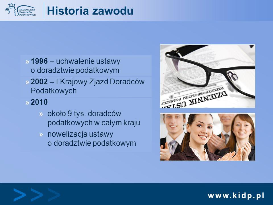 Historia zawodu 1996 – uchwalenie ustawy o doradztwie podatkowym