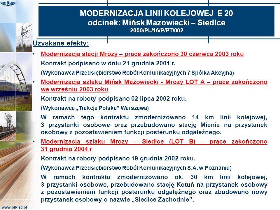 MODERNIZACJA LINII KOLEJOWEJ E 20 odcinek: Mińsk Mazowiecki – Siedlce 2000/PL/16/P/PT/002