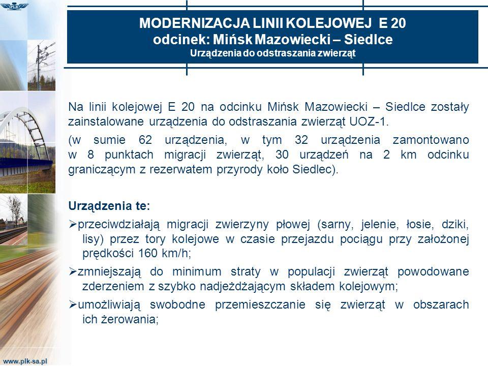 MODERNIZACJA LINII KOLEJOWEJ E 20 odcinek: Mińsk Mazowiecki – Siedlce Urządzenia do odstraszania zwierząt