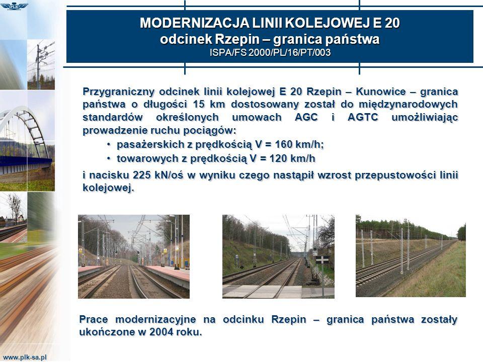 MODERNIZACJA LINII KOLEJOWEJ E 20 odcinek Rzepin – granica państwa ISPA/FS 2000/PL/16/PT/003