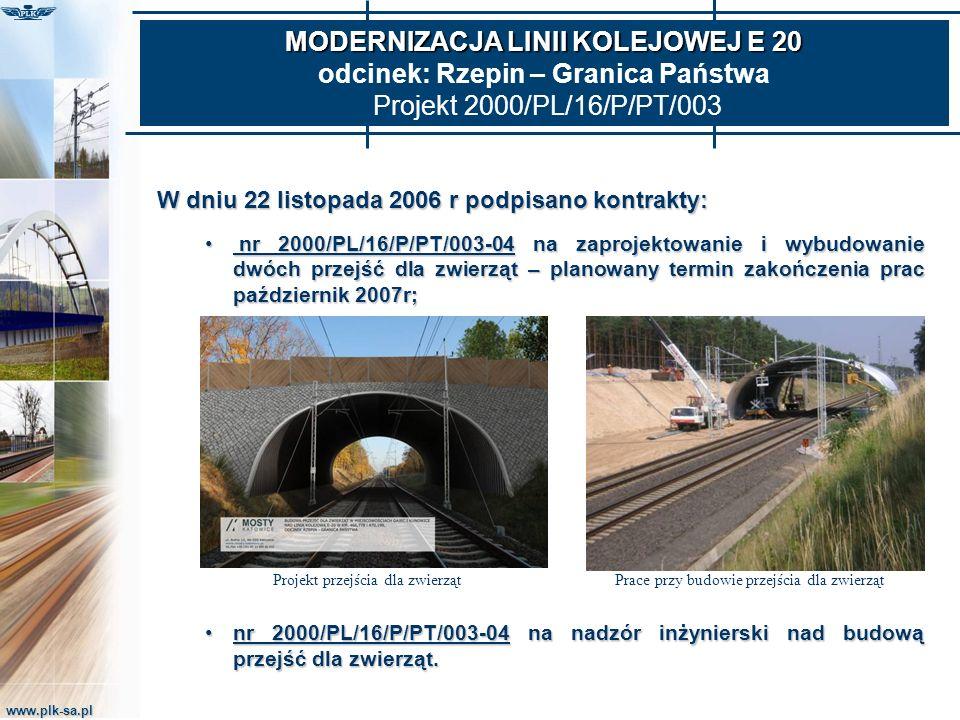 MODERNIZACJA LINII KOLEJOWEJ E 20 odcinek: Rzepin – Granica Państwa Projekt 2000/PL/16/P/PT/003