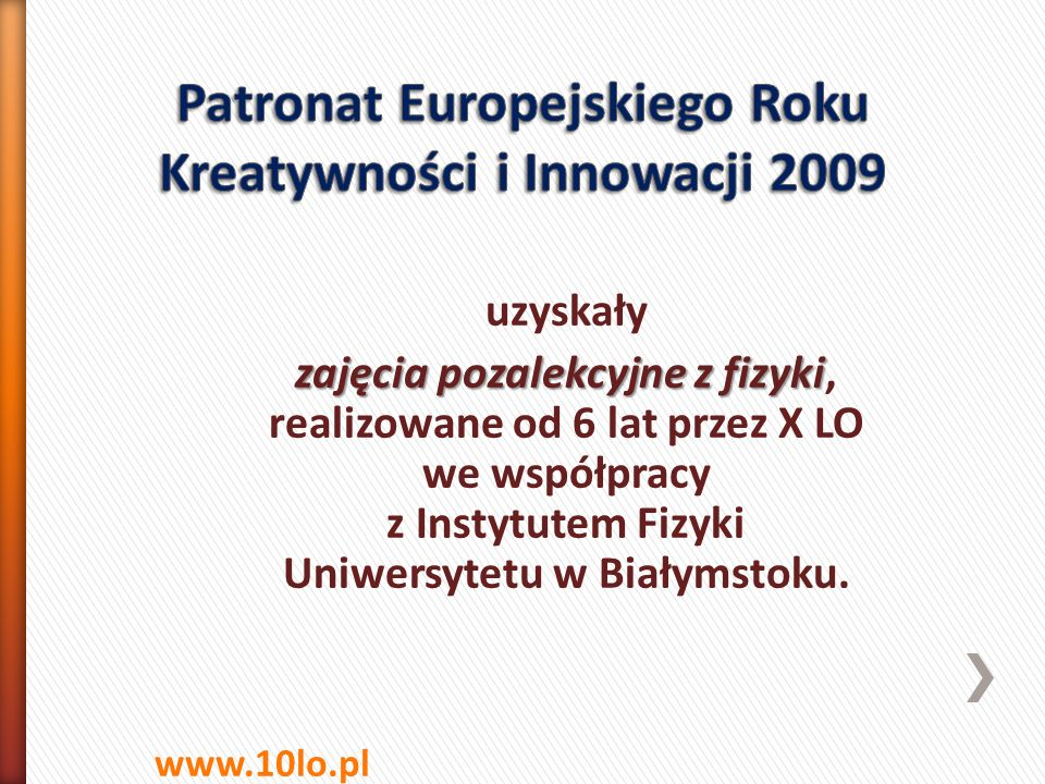 Patronat Europejskiego Roku Kreatywności i Innowacji 2009