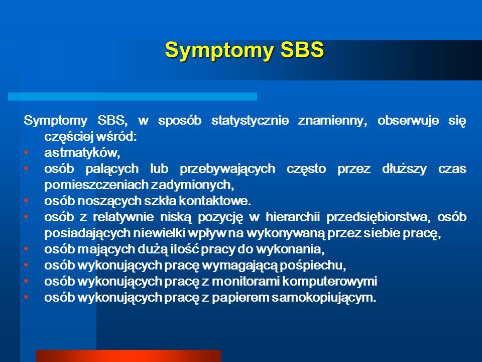 Symptomy SBSSymptomy SBS, w sposób statystycznie znamienny, obserwuje się częściej wśród: astmatyków,