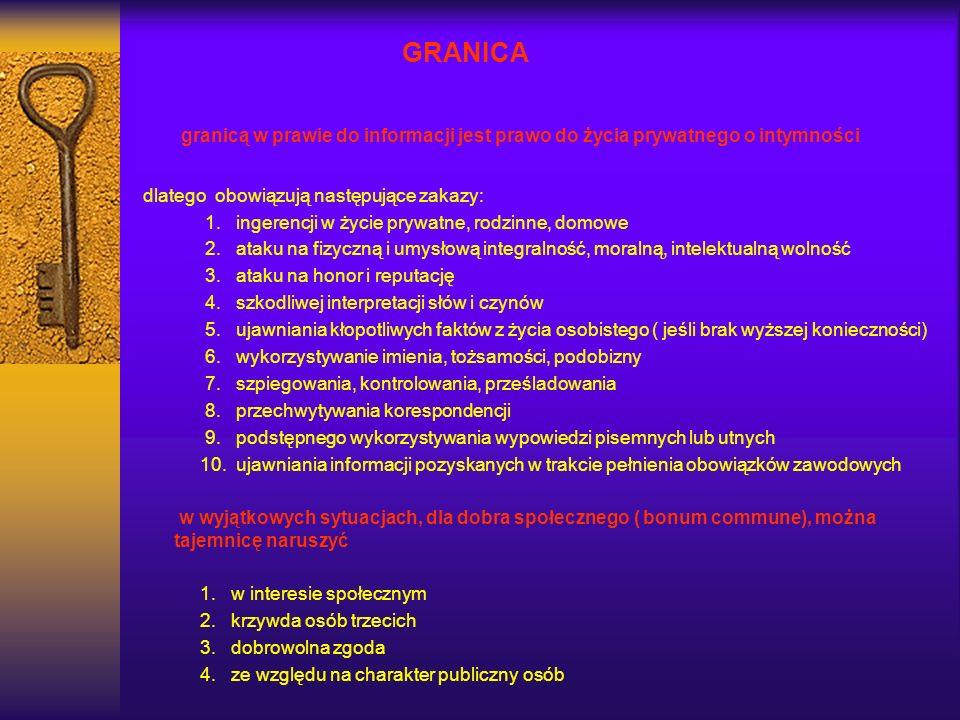 GRANICAgranicą w prawie do informacji jest prawo do życia prywatnego o intymności. dlatego obowiązują następujące zakazy: