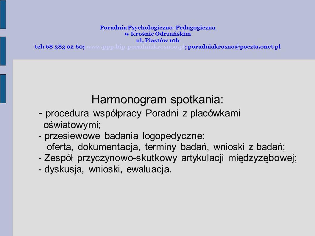 Harmonogram spotkania: