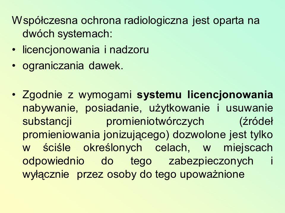 Współczesna ochrona radiologiczna jest oparta na dwóch systemach: