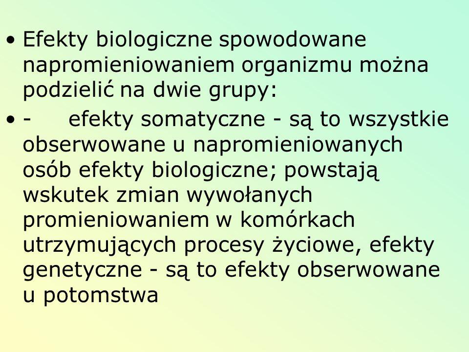 Efekty biologiczne spowodowane napromieniowaniem organizmu można podzielić na dwie grupy: