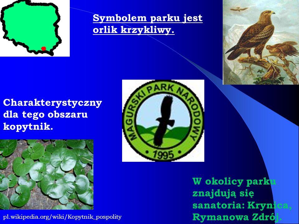 Symbolem parku jest orlik krzykliwy.