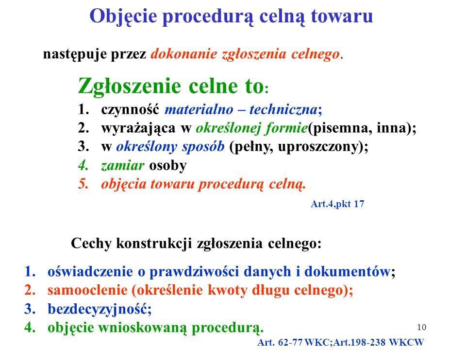 Objęcie procedurą celną towaru