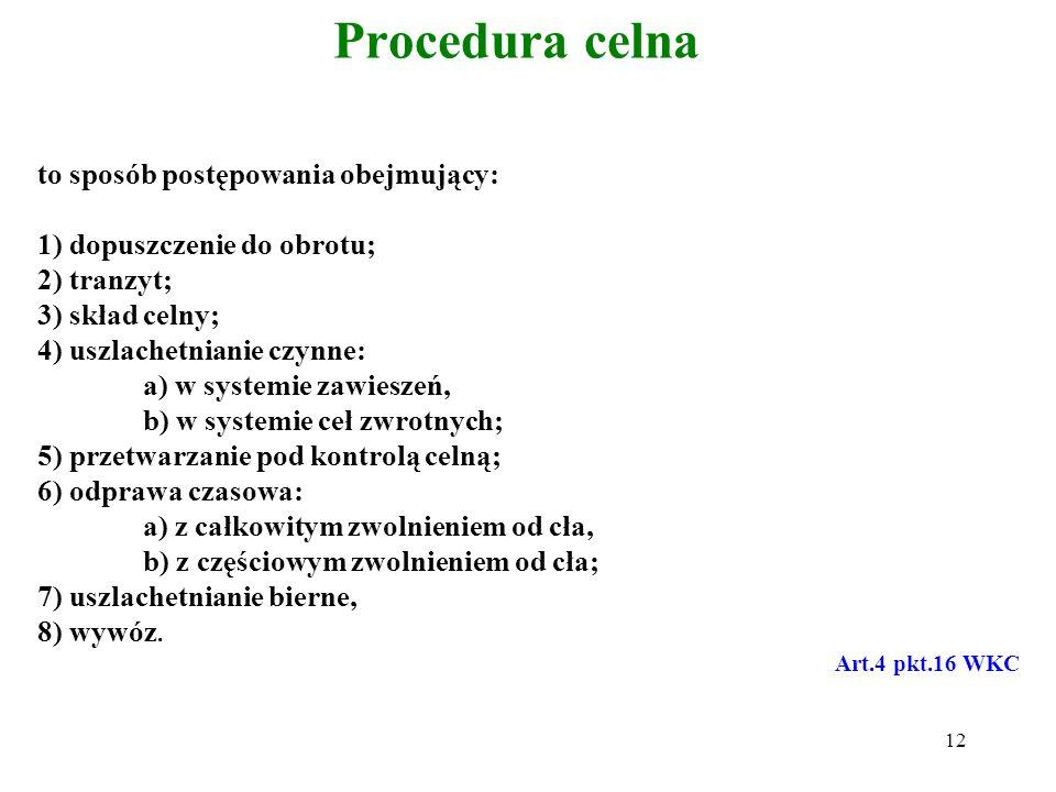 Procedura celna to sposób postępowania obejmujący: