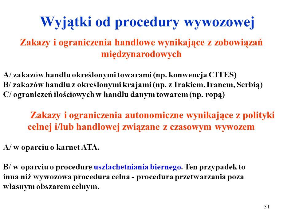 Wyjątki od procedury wywozowej