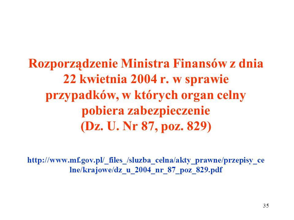 Rozporządzenie Ministra Finansów z dnia 22 kwietnia 2004 r