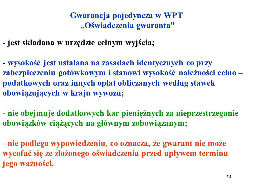 """Gwarancja pojedyncza w WPT """"Oświadczenia gwaranta"""