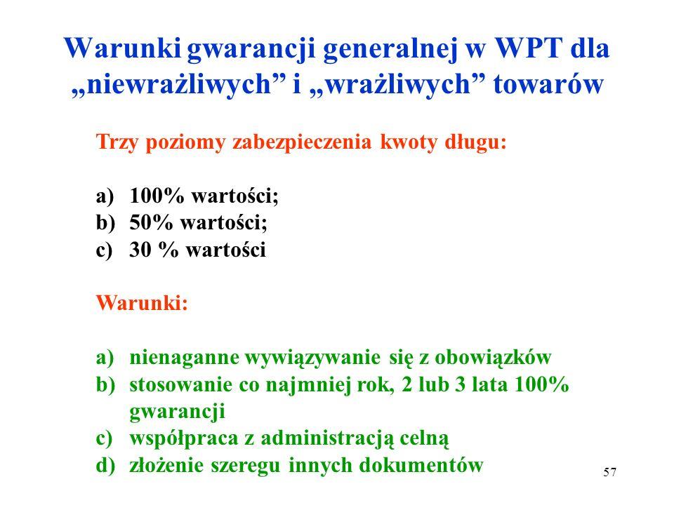 """Warunki gwarancji generalnej w WPT dla """"niewrażliwych i """"wrażliwych towarów"""
