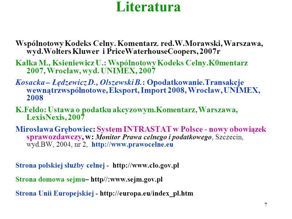 Literatura Wspólnotowy Kodeks Celny. Komentarz. red.W.Morawski, Warszawa, wyd.Wolters Kluwer i PriceWaterhouseCoopers, 2007r.
