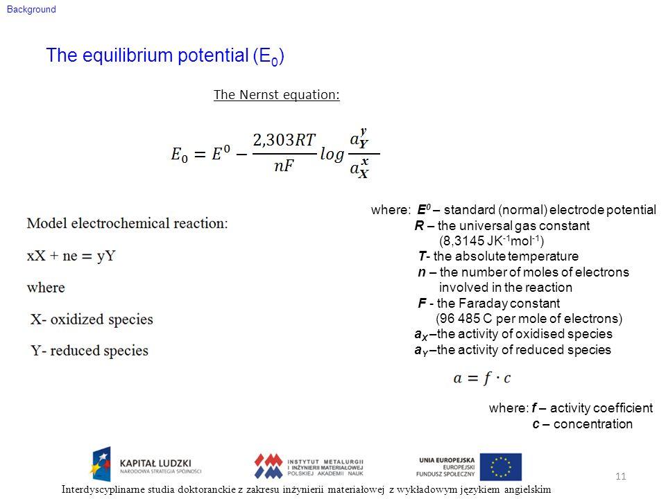 The equilibrium potential (E0)