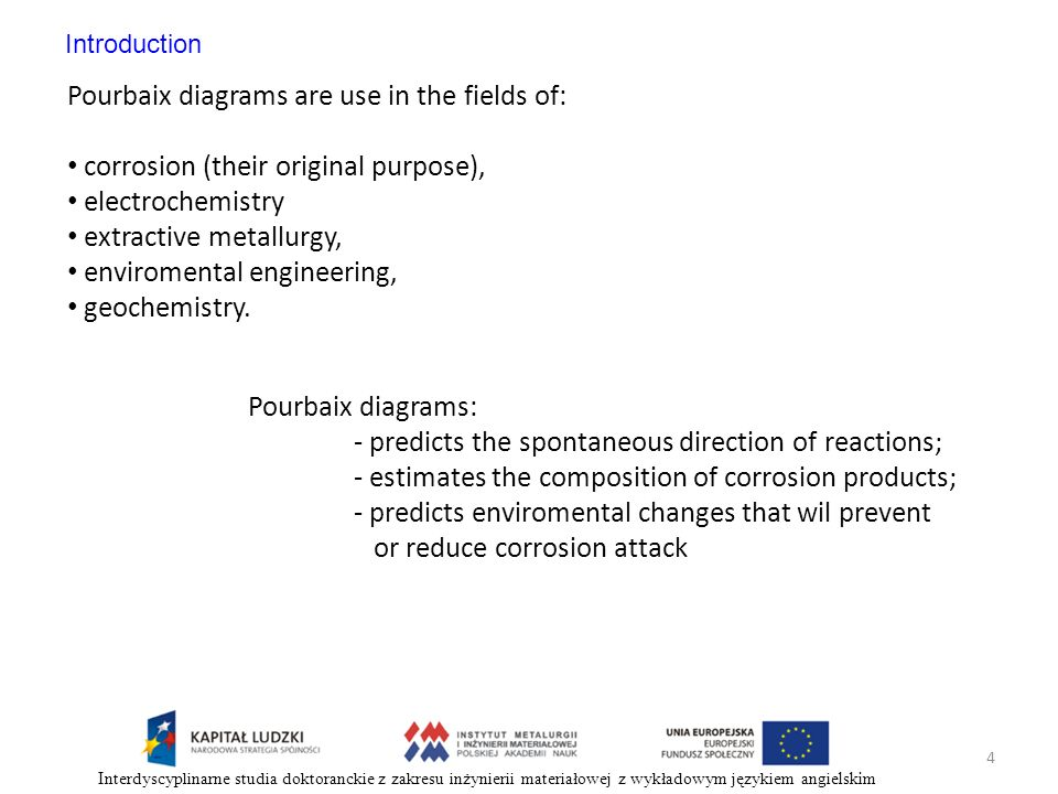 Pourbaix diagrams are use in the fields of: