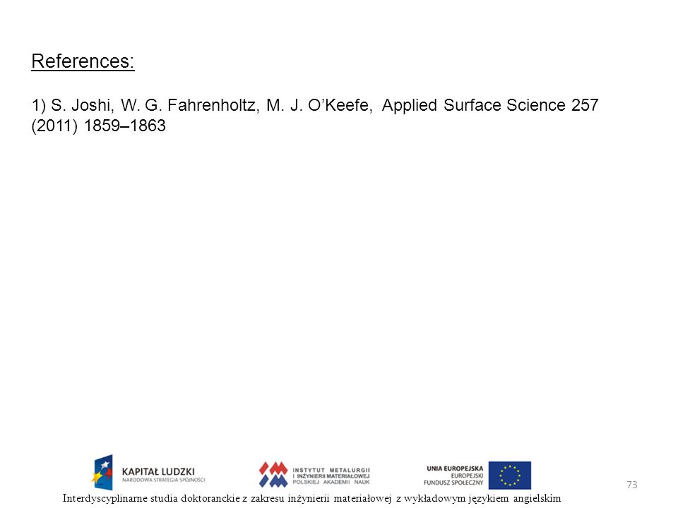 References: 1) S. Joshi, W. G. Fahrenholtz, M. J. O'Keefe, Applied Surface Science 257 (2011) 1859–1863.