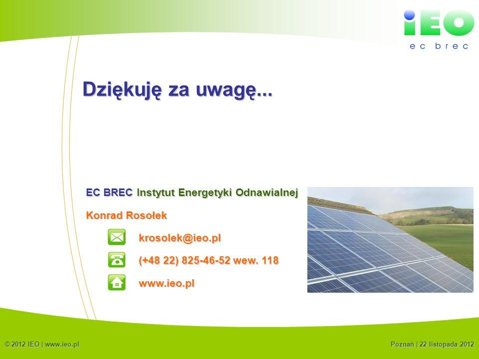 Dziękuję za uwagę... EC BREC Instytut Energetyki Odnawialnej