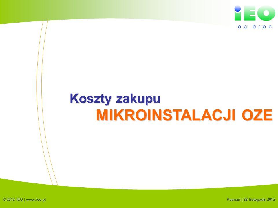 MIKROINSTALACJI OZE Koszty zakupu (C) IEO 2012
