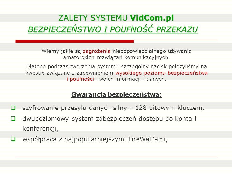 ZALETY SYSTEMU VidCom.pl BEZPIECZEŃSTWO I POUFNOŚĆ PRZEKAZU